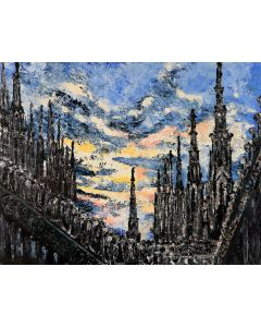 Pier Luca Bencini, Civitas Dei, acrilico su tavola,70x90 cm