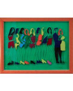 Marco Lodola, Sfilata, litografia su plexiglass, 50x65 cm con cornice,45x60 cm senza cornice