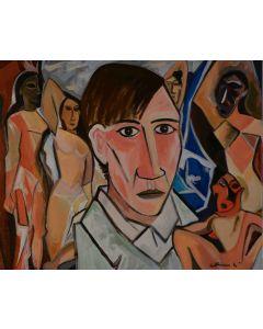 Carlo Massimo Franchi, Demoiselles d'Avignon e il maestro, olio su tela, 40x50 cm