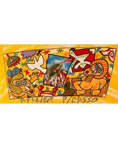 Bruno Donzelli, Atelier Picasso, litografia, 75x46 cm