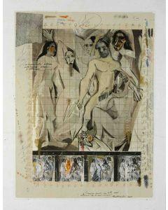 Enrico Pambianchi, Tra le mie donne, tecnica mista su tavola, 40x51,5 cm