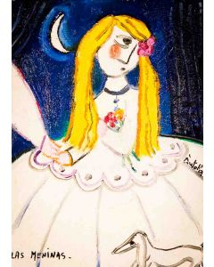 Anna Antola, Las Meninas, olio su tela, 40x30 cm