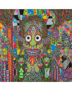 Léonard Combier, Untitled, 2014, acrilico, uni-posca e inchiostro su tela, 40x40 cm