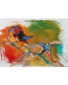 Claudio Malacarne, Swimming in rosso, olio su tela, 30x20 cm