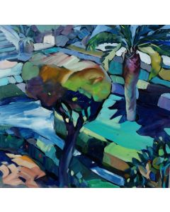Claudio Malacarne, Giardino italiano, olio su tela, 60x60 cm