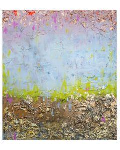 Francesco Cerutti, Rosa del cuore, luce oro, bianco della purezza, tecnica mista, 80x70 cm