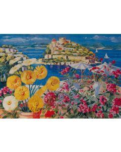 Giorgio Cesati, Estate a Ischia, serigrafia su tela, 55x40 cm