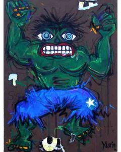 Yux, Ulk senza l'H, acrilico, pastelli a cera e manifesti su tela, 30x40 cm