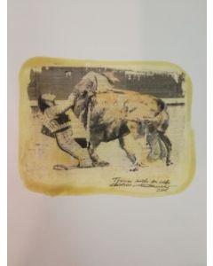 Enrico Pambianchi, Corrida, collage e disegno su carta, 35x24 cm
