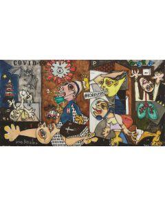Yux, COVIDGUERNICA...andrà tutto bene!, acrilico, pastelli a cera, smalto e manifesti su tela, 80x150 cm