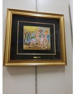 Salvador Dalì, La Tentazione,  bassorilievo, 47x51 cm (cornice compresa)