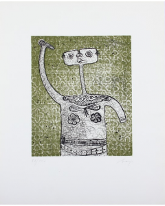 Enrico Baj, Dama, acquaforte a colori, 50x40,5 cm, 1966