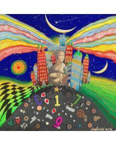 Meloniski da Villacidro, La dama con l'ermellino, tecnica mista polimaterica su carta con cornice in plexi, 39x39 cm (50x50x7 cm con teca)