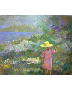 Daniela Penco, Il cappellino giallo, olio su tela, 60x70 cm