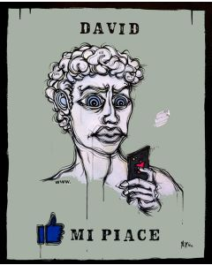 Yux, David mi piace, acrilico, pastelli a cera, smalto e manifesti su tela, 80x100 cm