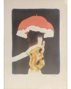 De Andreis, Ragazza con ombrello, serigrafia, 30x70 cm