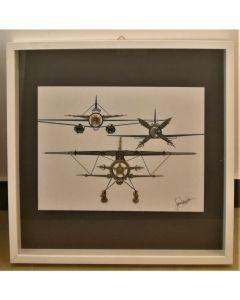 Simona Della Bella, Ingranair 2 , tecnica mista e applicazioni metalliche su tavola, 52.5x53 cm