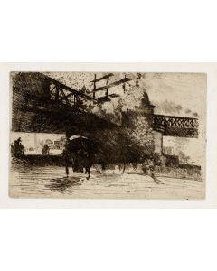 Giuseppe De Nittis, Vue pris à Londres, acquaforte e puntasecca, 17,5x28 cm