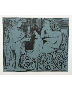 Pablo Picasso, Deux Femmes, Linoleografia, 27x32,5 cm