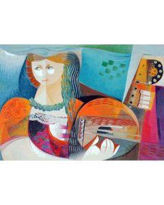 Vittorio Maria Di Carlo, serigrafia su carta, Donna con chitarra, 50x70 cm