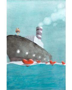 Diego Santini, Dalla Nave dei Sogni mi tuffo nel tuo cuore!, Giclée art print ritoccata a mano, 65x46 cm