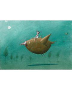 Diego Santini, Il primo volo, Giclée art print ritoccata a mano, 35x50 cm