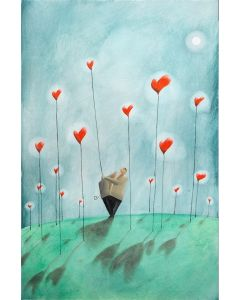 Diego Santini, Nel giardino incantato ho preso un cuore per te!, Giclée art print ritoccata a mano, 65x45 cm