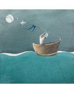 Diego Santini, Vado a vivere da solo!, Giclée art print ritoccata a mano, 33x33 cm