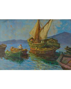Carlo Domenici, Barche, olio su faesite, 70x50 cm
