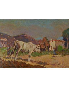 Carlo Domenici, Campagna con contadini, olio su faesite, 35x50 cm