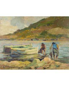 Carlo Domenici, Al rettaglio, olio su faesite, 45x35 cm