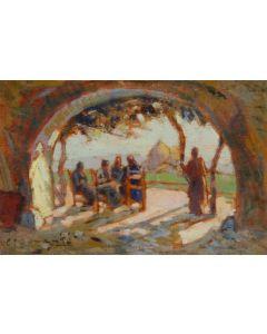 Carlo Domenici, Controluce, olio su compensato, 19,6x13 cm