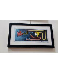 La Pupazza, Donna magica, acrilico e spray su carta, 23,5x42 cm (con cornice)