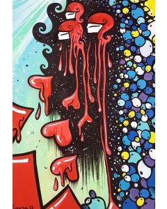 La Pupazza, Donne cuori, acrilico e spray su carta, 50x70 cm