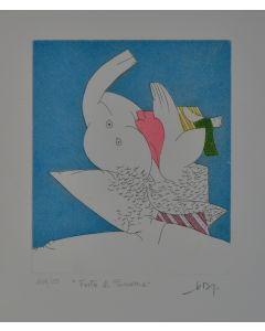 Gianni Dova, Festa di primavera, acquaforte a 5 colori, 35x50 cm