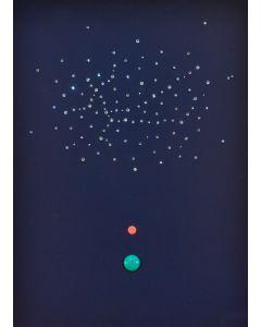 Bruno Budassi (Del Buda), In viaggio verso la costellazione del Sagittario, acrilico su tela, 40x30 cm