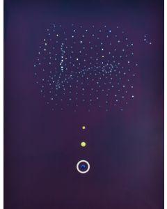 Bruno Budassi (Del Buda), In viaggio verso la costellazione dei Pesci, acrilico su tela, 100x80 cm