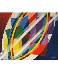 Filippo Scimeca, Geometrismo 1, acrilico e olio su tela, 100x100 cm