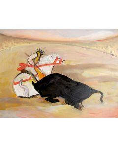 Carlo Massimo Franchi, Toro e cavaliere, olio su tela, 39.8x49.5 cm