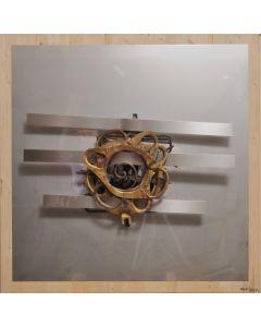 Giulio Ciampi, Rosa Mundi, acciaio su legno, 110x110 cm, 2019