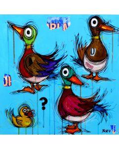 Yux, Ducks ?, acrilico, pastelli a cera, smalto e manifesti su tela, 50x50 cm