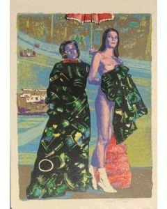Due Ragazze, serigrafia materica, 30x70 cm
