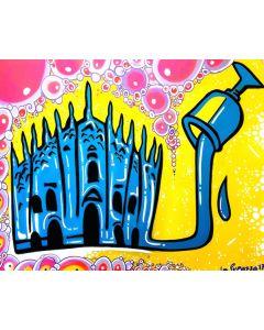 La Pupazza, Duomo d'acqua, acrilico e spray su tavola, 70x100 cm