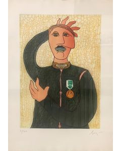 Enrico Baj, Charles Arciduca d'Austria, acquaforte a colori e collage, 70x50 cm, 1983