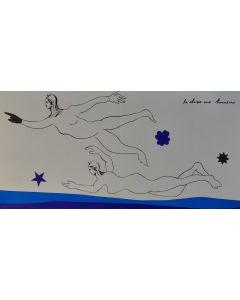 Enrico Baj, Chasse aux honneurs, litografia a colori e collage 38x75 cm, 1972