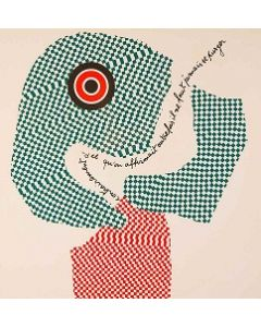 Enrico Baj, Due facce, litografia a colori e collage 38x38 cm, 1972