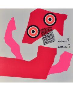 Enrico Baj, Essence?, litografia a colori e collage 38x38 cm, 1972