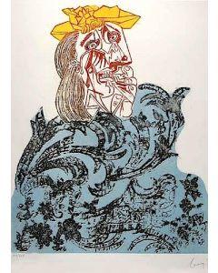 "Enrico Baj, Femme en pleurs, tratta dalla cartella ""Baj chez Picasso"", acquaforte a colori su carta, 70x50 cm, 1969"