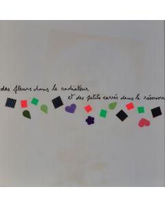 Enrico Baj, Des fluers dans le radiateur, litografia a colori e collage 38x38 cm, 1972