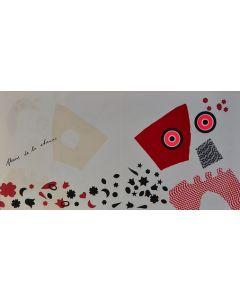 Enrico Baj, Fleurs de la chance, litografia a colori e collage 38x75 cm, 1972